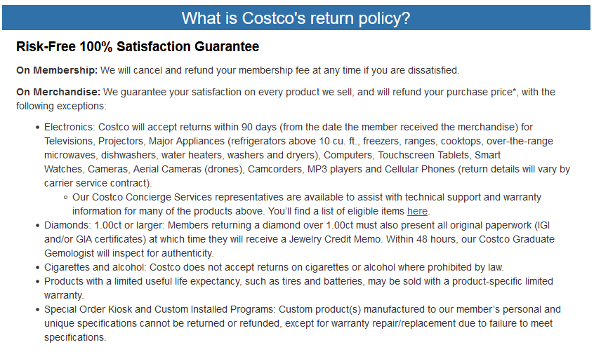 what is costcos return policy
